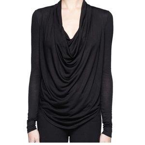 Helmut Lang Black Cowl Neck Long Sleeve Blouse